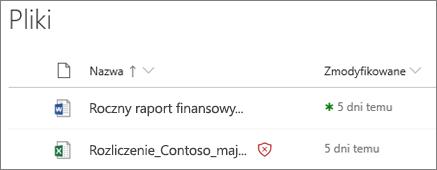 Zrzut ekranu przedstawiający pliki w usłudze OneDrive dla firm z jednym wykrytym jako złośliwy