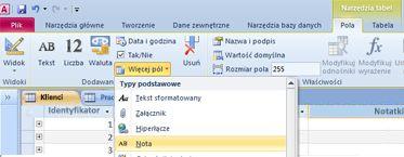 Lokalizowanie typu danych pola Nota w obszarze Więcej pól