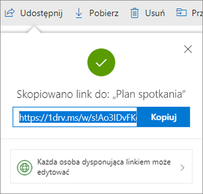 Potwierdzenie kopiowania linku podczas udostępniania plików za pośrednictwem linku w usłudze OneDrive