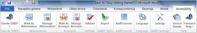 Karta wstążki Accessibility (Ułatwienia dostępu) dodatku Save as DAISY
