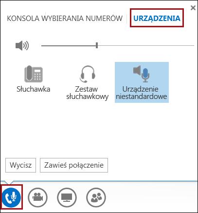 Przełączanie urządzenia audio w programie Lync