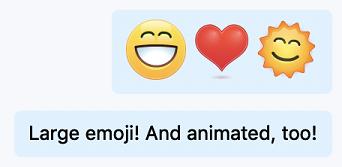 Duży animowany znak emoji w czatach programu Skype dla firm