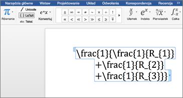 Dokument programu Word zawierający równanie LaTex