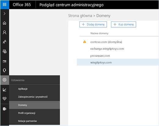 Zrzut ekranu przedstawiający centrum administracyjne usługi Office 365 z wybraną opcją Domeny. Na stronie są wyświetlane nazwy domen oraz opcje dodawania i zakupu domen.