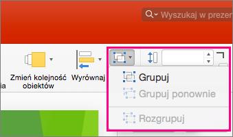 Przedstawia ikonę grupy na wstążce w programie PowerPoint 2016 dla komputerów Mac
