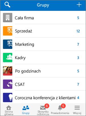 Zrzut ekranu przedstawiający grupy w aplikacji mobilnej Yammer