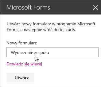 Panel składnika Web Part programu Microsoft Forms dla nowego formularza.