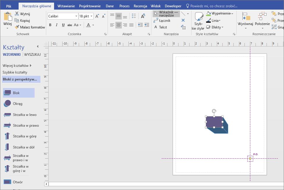 Z bloki z perspektywą wzornika przeciągnij kształt na stronę rysunku.