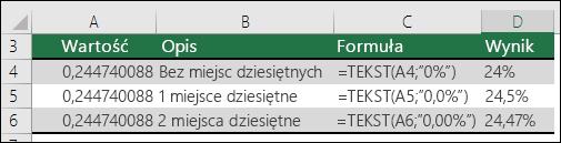 Kody formatów dla procentów