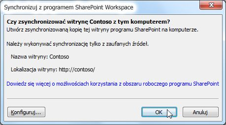 Okno dialogowe Synchronizacja z komputerem