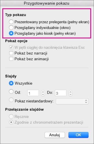 Opcje typu pokazu