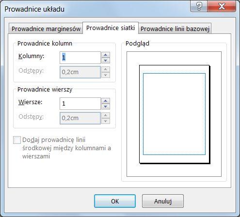 Okno dialogowe Prowadnice układu w programie Publisher z wyświetlonymi prowadnicami siatki