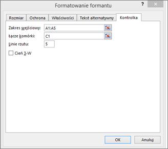 Okno dialogowe Formatowanie formantu