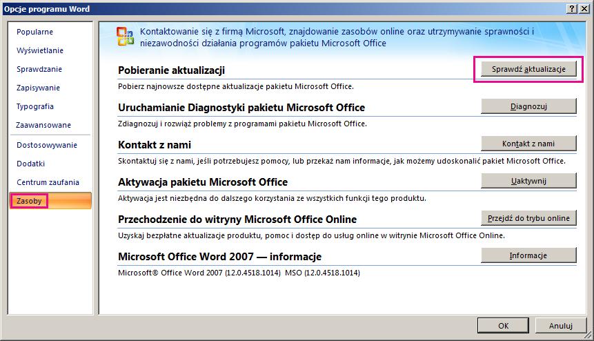 Wyszukiwanie aktualizacji pakietu Office w programie Word 2007