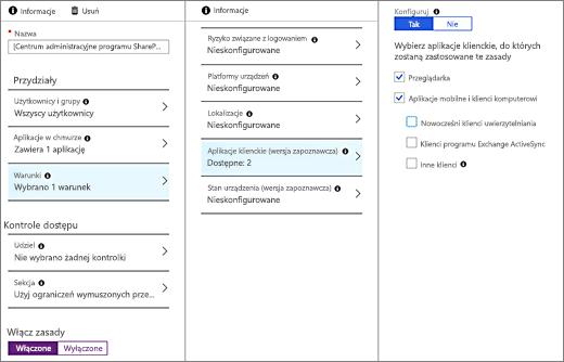 Tworzenie zasad w Centrum administracyjnym Azure AD blokować dostęp