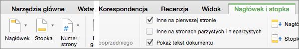 Gdy klikniesz dwukrotnie obszar nagłówka lub stopki, program Word wyświetli kartę Nagłówek i stopka.