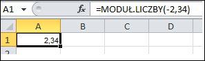Formuła wyświetlana na pasku formuły