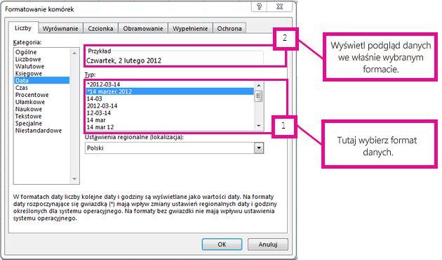 Wybieranie typu daty i wyświetlanie podglądu z polu Przykład