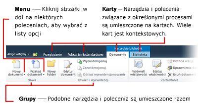Ogólny widok interfejsu wstążki w programie SharePoint