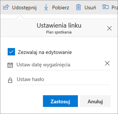 Opcje ustawień linków dla udostępniania pliku w usłudze OneDrive