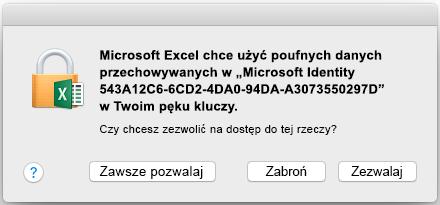 Monit pęku kluczy w pakiecie Office 2016 dla komputerów Mac