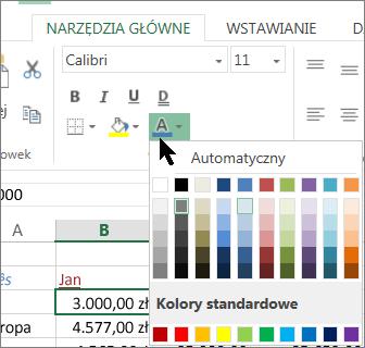 Wybieranie innego koloru tekstu