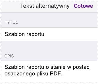 Dodawanie tekstu alternatywnego do pliku osadzonego w aplikacji OneNote dla systemu iOS