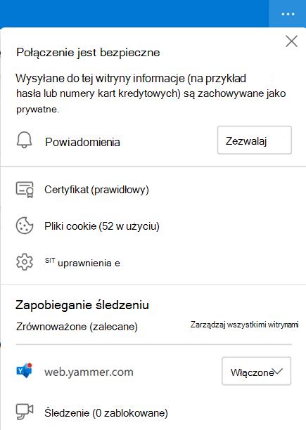 Zrzut ekranu przedstawiający ustawienia przeglądarki umożliwiające powiadomienia na pulpicie