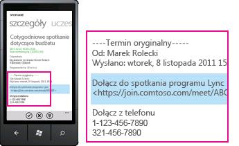 """Zrzut ekranu: wezwanie """"Dołącz do spotkania programu Lync"""" w kliencie programu Lync dla urządzeń przenośnych"""
