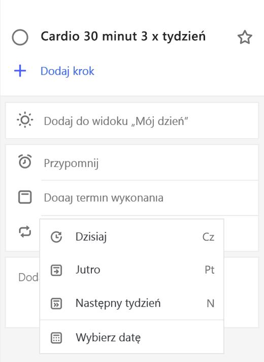 Zrzut ekranu przedstawiający widok szczegółowy z wybraną opcją Dodaj datę ukończenia.