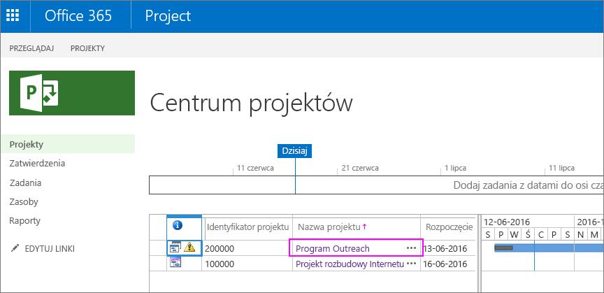 W centrum projektów wybierz nazwę projektu.