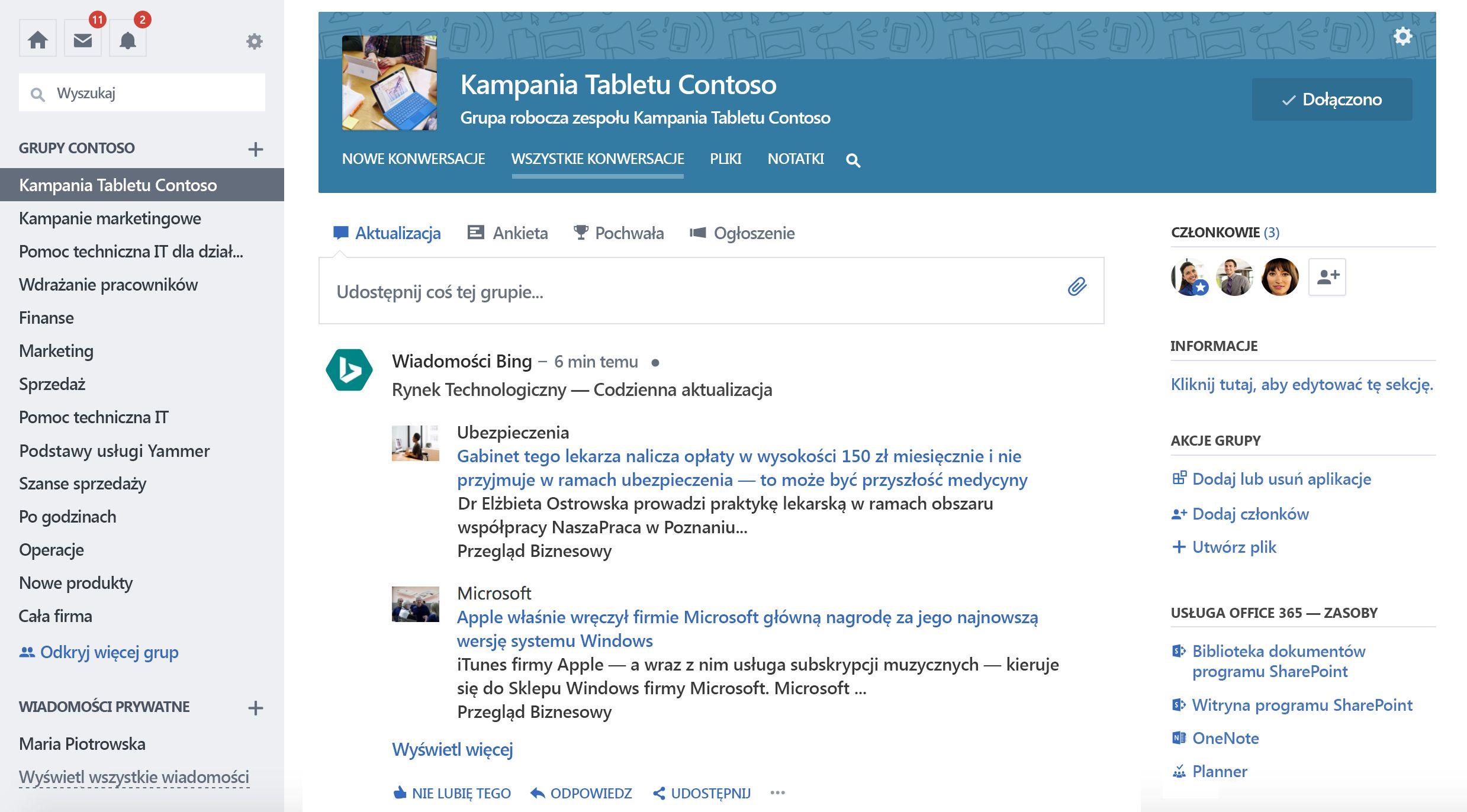 Zrzut ekranu: Aktualizacja grupy z usług innych firm
