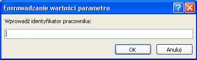 """Przedstawia przykład okna dialogowego oczekiwanie wartości parametru Enter z identyfikatorem """"Wprowadź identyfikator pracownika"""", pole, w którym można wprowadzić wartość, oraz przyciski OK i Anuluj."""