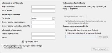 Wprowadzanie ustawień konta IMAP
