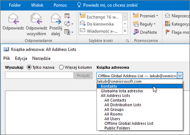 Po zaimportowaniu kontaktów z usługi Gmail możesz znaleźć je w usłudze Office 365, wybierając książkę adresową