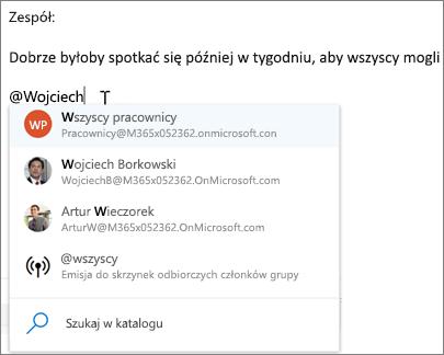 @mentions w programie Outlook w sieci web
