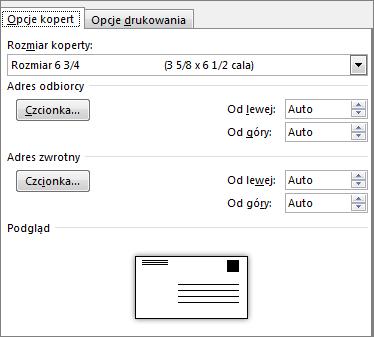 Karta Opcje kopert służąca do określania rozmiaru kopert i czcionek adresu