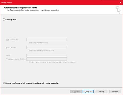 Wybierz pozycję Ręczna konfiguracja lub obsługa dodatkowych typów serwerów