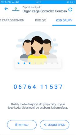 Zrzut ekranu przedstawiający stronę kodową grupy w programie aplikacji kaizala
