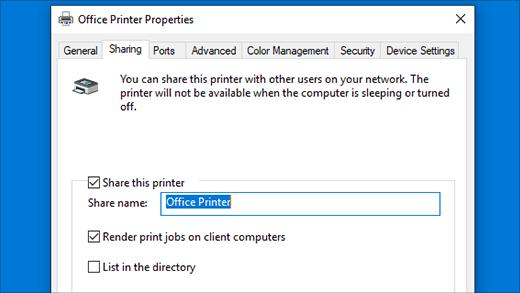 Udostępnianie drukarki w oknie Właściwości drukarki