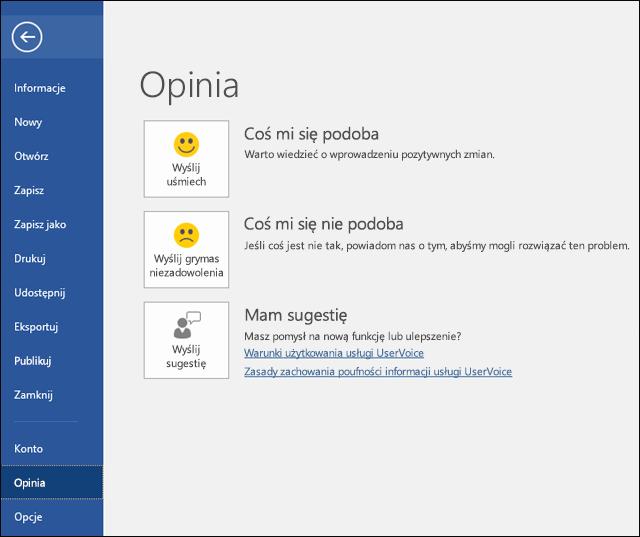 Kliknij pozycję Plik > Opinia, aby przedstawić swoje komentarze i sugestie dotyczące programu Microsoft Word