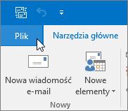 Zrzut ekranu przedstawiający menu Plik w programie Outlook 2016