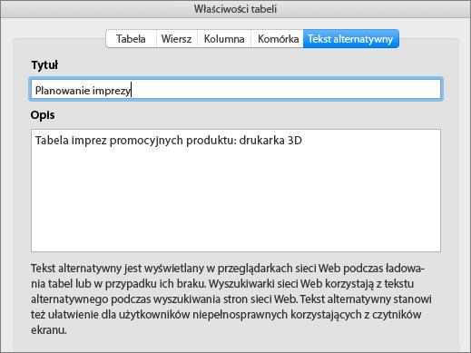 Zrzut ekranu przedstawiający kartę Tekst alternatywny okna dialogowego Właściwości tabeli