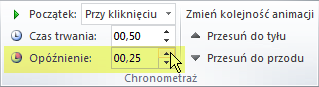 Opcja Opóźnienie efektów animacji w programie PowerPoint