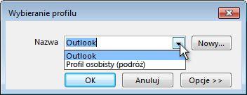 Okno dialogowe wyboru profilu programu Outlook