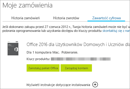 Przedstawia cyfrowe zamówienie pakietu Office, jego klucz produktu i przyciski umożliwiające zainstalowanie pakietu Office oraz zarządzanie kontem Microsoft.