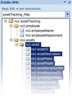 Mapowanie pliku schematu programu InfoPath na dane programu Excel