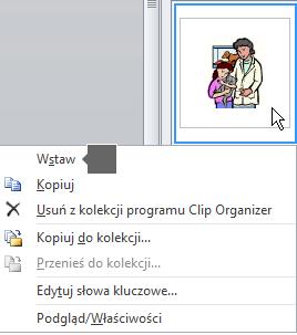 Aby wstawić obraz, kliknij prawym przyciskiem myszy obraz miniatury, a następnie wybierz polecenie Wstaw.