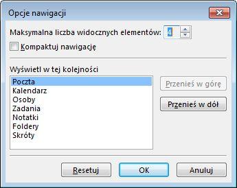 Okno dialogowe Opcje nawigacji