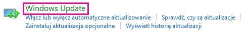 Łącze Windows Update w Panelu sterowania systemu Windows 8